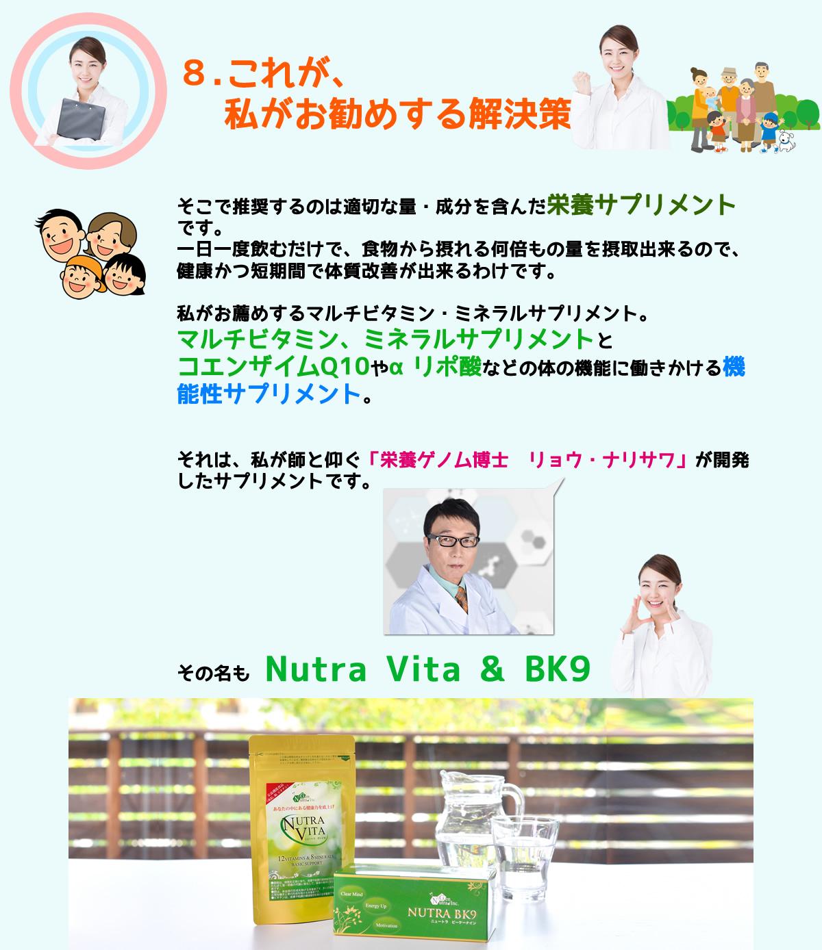 私がお薦めするマルチビタミン・ミネラルサプリメント。 それは、私が師と仰ぐ「栄養ゲノム博士 リョウ・ナリサワ」が開発したサプリメントです。 その名もNutra Vita & BK9